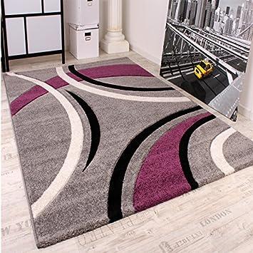 Teppich grau lila  Velours Teppich Modern Grau Lila - Violett Silver, Grösse:120x170 ...