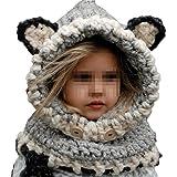 Bebé Sombrero y Bufandas Invierno, Gorros de Punto Cálidos Bebé Gorros de Animales Lindos Fox Sombrero y Bufanda Gorros Niño