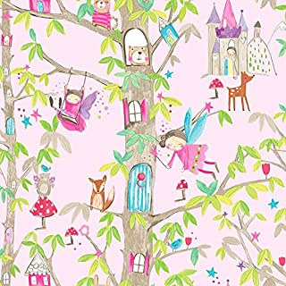Arthouse, Woodland Fairies Pink Wallcovering Wallpaper