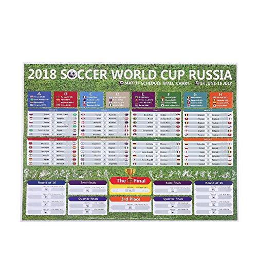 Umiwe 2018 World Cup Spielplan/Fußballspiel Tabelle Russland World Cup 2018 Poster Wall Chart Aufkleber/Fußball-Turnier Spielplan/Fußball-Kalender für Home Bar Party Club Dekorationen