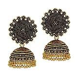 Jaipur Mart Oxidised Gold Plated Handmade Jhumka Jhumki Earrings For Women