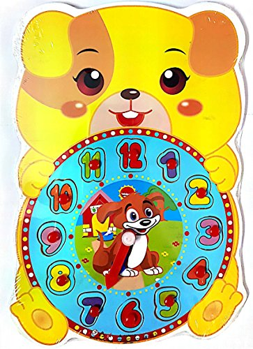 SuperToy(TM) Premium 1 Set Wooden Educational Color Digital Cognitive Learning DIY Clock Model Jigsaw Puzzles Toys Gifts Kids Toys for Children (Bear)