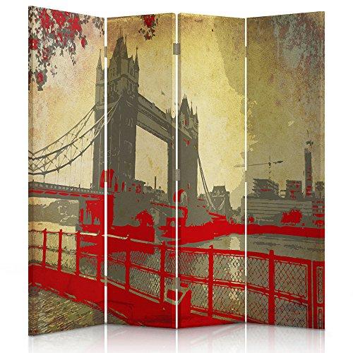 Feeby Frames Raumteiler Gedruckten aufCanvas Leinwand Wandschirme dekorative Trennwand Paravent beidseitig 4 teilig 360° (145x150 cm) ALTE Postkarte Sepia Vintage London BRÜCKE ROT BRAUN