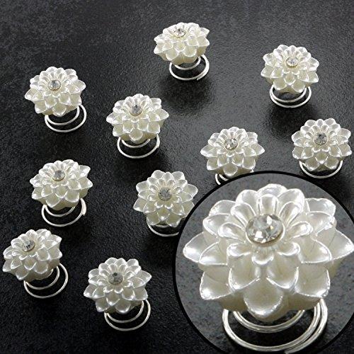 Curlies Haar Stecker Haarschmuck Spangen Steine Hochzeit Konfirmation Kommunion Frisur Abschlussball Abi-Ball Blüten Blume Brautschmuck Brautfrisur, Menge:12er-Set
