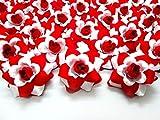 (100) Blanc soie Rose rouge fleur Tête-4,4cm-Têtes de fleurs artificielles Tissu Floral Fournitures vente en gros Lot pour mariage Fleurs Accessoires Font de mariée Pinces à cheveux Bandeaux Robe