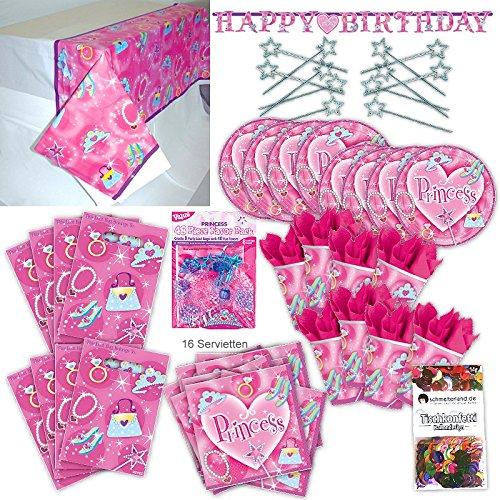 Amscan Prinzessin Princess Kinder Party Set XL 103-teilig 8 Gäste Prinzessinparty Deko Partypaket