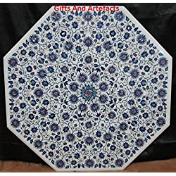 """Lujo y Caro, 48""""OCTAGON mármol blanco sofá con mesa de café parte superior Inlay Royal Arte"""