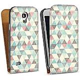 Samsung Galaxy S4 mini Tasche Schutz Hülle Walletcase Bookstyle Dreiecke Vintage Muster Pastell