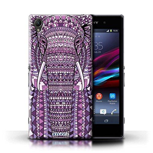 Coque en plastique pour Sony Xperia Z1 Collection Motif Animaux Aztec - Hibou-Mono éléphant-Pourpre