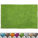 SunDeluxe Chenille Badematte Größen, Badteppich aus Microfaser nach ÖKO TEX Standard 100, Welness Badeteppich/Duschvorleger, Größe:60 x 90 cm, Farbe:Grün