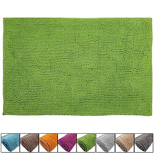 SunDeluxe Badematte Chenille 50x80 cm Grün Rutschfester Hochflor Badteppich Wellness Badvorleger Saugfähig und Flauschig