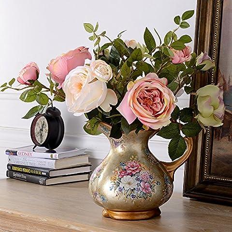 qwer Continental vasos cerámicos pintados a mano el kit floral salón comedor cafeteras flor emulación de flores artificiales adornos , el real aumentó 6