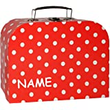 alles-meine.de GmbH 1 Stück _ Koffer / Kinderkoffer - MITTEL -  rot & weiße Punkte  - incl. Name - 25 cm - Pappkoffer - Puppe
