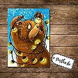 ilka parey wandtattoo-welt® A6 Postkarte Weihnachtskarte Karte Print Braunbär mit Lichterkette und Spruch Allerfröhlichste Weihnachten pk17