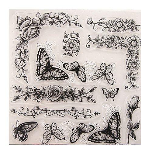 wanfor CLEAR STAMP Schmetterling Klar Silikon Dichtung Briefmarken für DIY Album Scrapbooking Foto Karte Decor Kid Geschenk