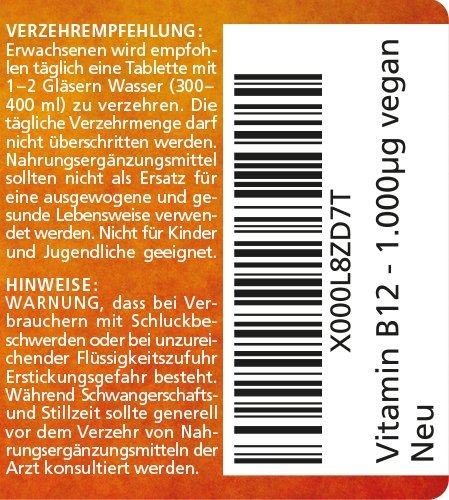 Vitamin B12 hochdosiert Methylcobalamin 1000 µg 180 Tabletten vegan 6 Monatsvorrat Qualitätsprodukt-Made-in-Germany ohne Magnesiumstearat, jetzt zum Aktionspreis und 30 Tage kostenlose Rücknahme! 1 er Pack (1 x 45 g) - 7