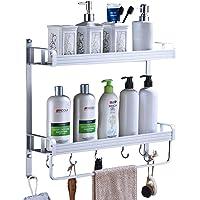 Yeegout adhésif étagère de salle de bain avec porte-serviettes et crochets, aluminium Épaississant Pas de forage mural…