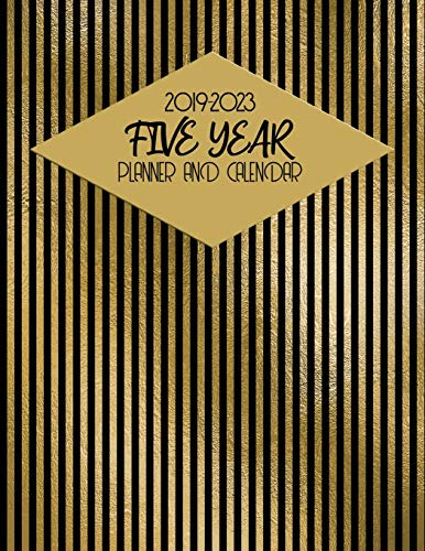 2019-2023 Five Year Planner And Calendar: Black And Gold Stripe 60-Month Planner - Monthly Agenda And Organizer - Black Ink Bekleidung