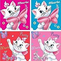 '4unidades de invitados/toallas de mano/facial pañuelos/toallas/09103–Agarradores 30x 30cm Con Disney Diseño de Marie de los Aristogatos, 100% algodón, rojo, y, fucsia