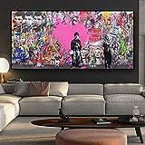 BBINGY Poster Impression Toile Peinture sur toile abstraite Posters et impressions Graffiti Street Pop Art Image de mur pour le décor de salon,70x140cm