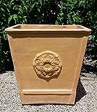 Kreta-Keramik eckiges terracotta Pflanzgefäß, 55 x 55 cm frostfest und handgefertigt, hochwertige Deko im Garten Terrasse, Laurus 2