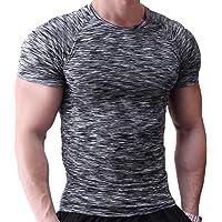 Muscle Alive Uomo Magro Stretto Compressione Livello Base Manica Corta Maglietta Bodybuilding Top Poliestere e Spandex