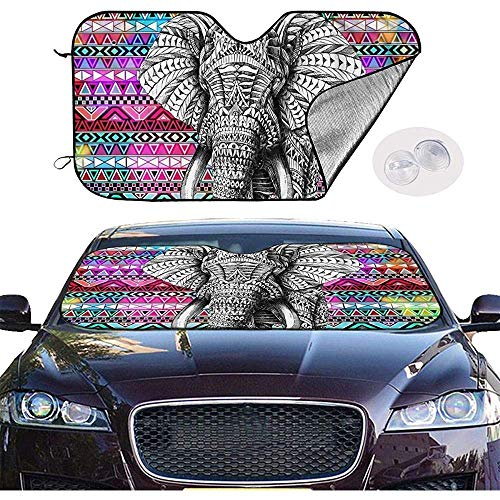 Bing Bo-Car Sun Shade Sombrillas de Elefante a Rayas de Colores Parabrisas de automóvil Sombrilla de automóvil Sombrilla de automóvil Plegable_Portable Mantenga el vehículo Fresco- (70 * 130 cm)