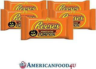 AMERICANFOOD4U - Reese's HALLOWEEN Original Erdnussbutter Milch-Schokolade [5 Riegel] (je 43 g) | PEANUT BUTTER CUPS PUMPKIN | Original Importschokolade aus den USA | Feinste Erdnussbutterriegel in amerikanischer Schokolade von The Hershey Company | Die beliebtesten amerikanische Süßigkeiten / Sweets aus den Vereinigten Staaten bei Dir zu Hause | Pumpkin Edition - Deine US Sweets!