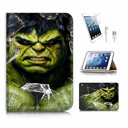 (für iPad Mini 123, Generation 1/2/3) Flip Wallet Schutzhülle & Displayschutzfolie & Ladekabel Bundle. a4065Hulk Superheld (Hulk Ipad Case 3)