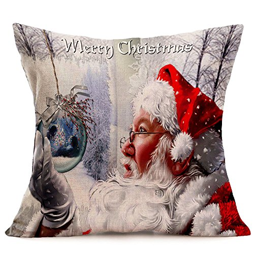 Kissenbezug ,1 stück 45cm x 45cm Weihnachtsmann Muster Zierkissenbezüge Sofa Bett Heimtextilien Home Decor Festival Kissen Abdeckung Pillow Case Weihnachten Dekoration Christmas Decoration (O) -