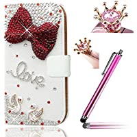 Wiko Bloom Cover - Vandot Esclusivo 3D DIY Strass Diamond Arco Bow PU Leather Portafoglio Case Cover di Card Slots Wallet Copertura della Cassa Prottetiva Anti-Scratches Shockproof Silicone Housing Shell - Arco Bow