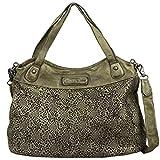 Taschendieb Wien Leder Shopper Handtasche Henkeltasche Schultertasche TD0715, Farbe:Military