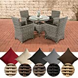 CLP Polyrattan-Sitzgruppe CASOLI mit Polsterauflagen | Garten-Set bestehend aus einem Esstisch und vier Gartenstühlen | In verschiedenen Farben erhältlich Bezugfarbe: Terrabraun, Rattan Farbe: grau-meliert