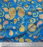 Soimoi Blau Baumwolle Ente Stoff Mandala & Paisley Dekor Stoff gedruckt 1 Meter 58 Zoll breit