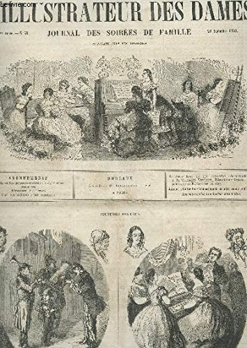 L'ILLUSTRATEUR DES DAMES - 2e Année - N°39 - 28 SEPT 1862 / Souvenirs des eaux / Courrier de la mde et des eaux / Travaux de fantaisie / Biarritz / Causeries entre femmes / Detail du porte vase / etc...
