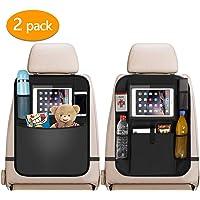 Car Back Seat Organiser 2pcs, 2 Type Waterproof Kick Mats Car Organiser Seat Back Protectors with Multi Pockets Including 10