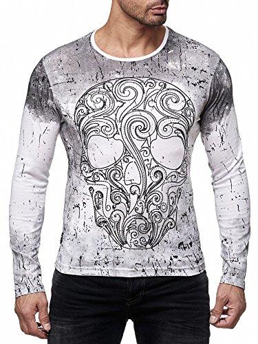 Skull Long Sleeve Tee (Red Bridge Herren Langarmshirt Sweatshirt Designer Skull Totenkopf Longsleeve Baumwolle Weiß Neu (Weiß, L))