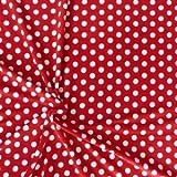 Fleece Stoff Fleecestoff Meterware rot weiße Punkte