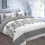 Clicktostyle Set di biancheria da letto con copripiumino e federe, motivo: gufi, Policotone, Black & White, Doppio
