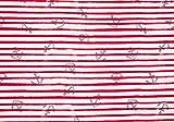 Qualitativ hochwertiger French Terry, Sweatshirtstoff mit blauen Ankern auf roten Streifen als Meterware zum Nähen von Baby, Kinder- und Damenkleidung, 50 cm