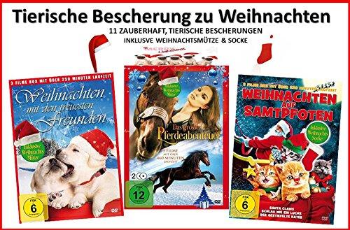 Tierische Bescherung zu Weihnachten (11 Filme incl Mütze & Socke) [4 DVDs]