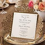 Wishmade Gold Hochzeit Einladungen Karten Sets 50 Stücke Mit Blumen Lasercut Spitze Design Hochzeitseinladungskarten Für Geburtstag Party Engagement Bridal Shower Abschluss (Satz von 50pcs)