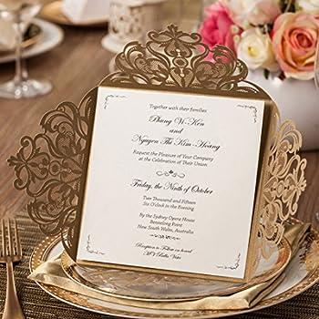 Wishmade Gold Hochzeit Einladungen Karten Sets 50 Stücke Mit Blumen  Lasercut Spitze Design Hochzeitseinladungskarten Für Geburtstag Party  Engagement Bridal ...