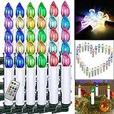 FROADP 40 Stück Bunt Dimmbare LED Mini Weihnachtskerzen mit Fernbedienung Kabellos Christbaumkerzen für Weihnachtsbaum deko Geburtstagsdeko