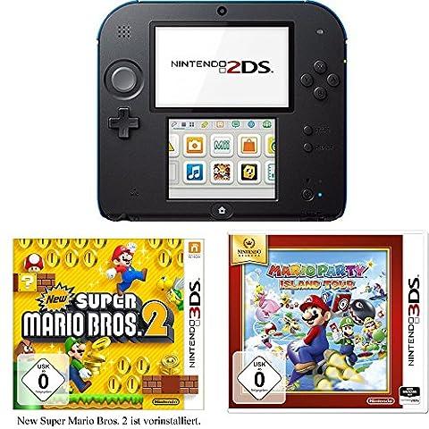 Nintendo 2DS (schwarz) inkl. New Super Mario Bros. 2 + Mario Party: Island Tour