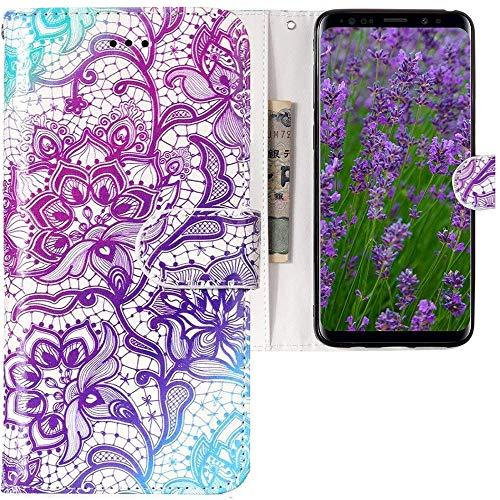 CLM-Tech kompatibel mit Samsung Galaxy S9 Hülle, Tasche aus Kunstleder, Blume lila weiß Mehrfarbig, PU Leder-Tasche für Galaxy S9 Lederhülle