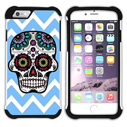 Graphic4You Mexikanische Zuckerschädel Tod Winkel Muster (Orange) Hart + Weiche Kratzfeste Hülle Case Schale Tasche Schutzhülle für Apple iPhone 6 Plus / 6S Plus Babyblau