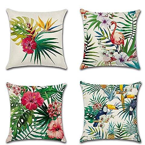 4 pcs 18 x18 Inch Tropical Plants Cotton Linen Throw Pillow Cover Case Square Cushion Cover