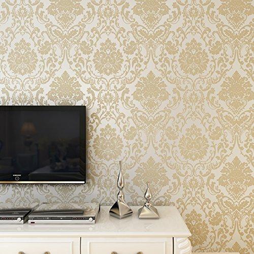 europeo carta da parati non tessuta 3D damasco wall-to-wall sfondo camera da letto soggiorno TV, (Zebra Blu Trim)