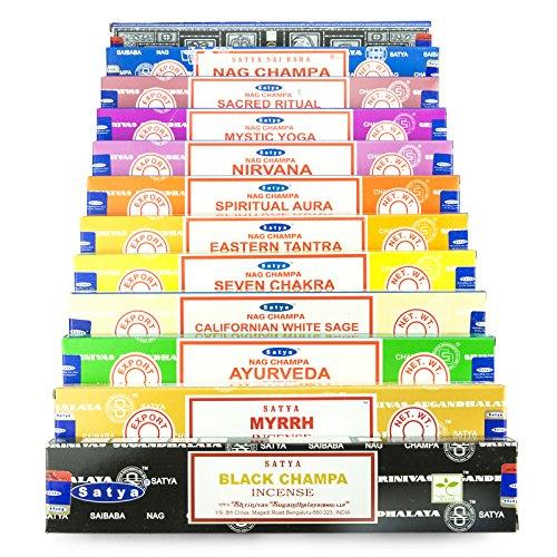 Genuine Satya Mix W 12 x 15 gramos de incienso, incluye Nag Champa, Su